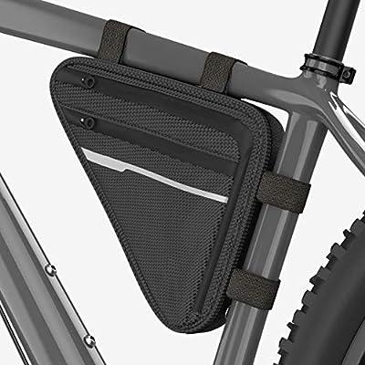 Velmia Fahrrad Dreiecktasche [Wasserdicht] - Fahrradtasche Rahmen, Triangeltasche ideal für Fahrradschloss, Werkzeug, Regenjacke etc - MTB Tasche, Fahrrad Rahmentasche mit 3 Fächern & 1,7l Volumen