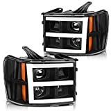 DWVO Projector headlights assembly Compatible with 2007-2013 GMC Sierra 1500/ GMC Sierra 2500HD 3500HD 2007 2008 2009 2010 2011 2012 2013 2014 Led Drl Headlamp