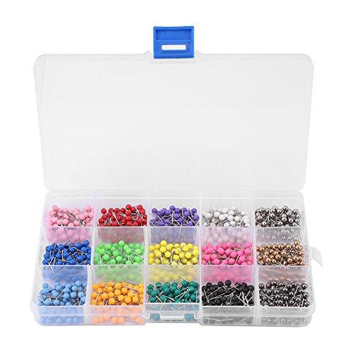 900 stks Ronde Hoofd Dressmaking Pins 11 mm Multi kleuren Glas Bal Hoofd Pins Voor Dressmaking Sieraden Componenten Bloem Decoratie Met Transparante Kasten, 15 Kleuren