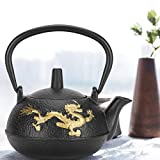 Tea Kettle,Iron Teapot 0.3L with Strainer Gold Dragon Pattern Desktop Ornaments Simulation Japanese Style
