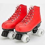 LMHX Patines De Ruedas Niñas Cuatro Ruedas Polea Zapatos Adolescentes Y Adultos Zapatos De Patinaje Velocidad Profesionales Doble Fila Patines De Rodillos,Rojo,36