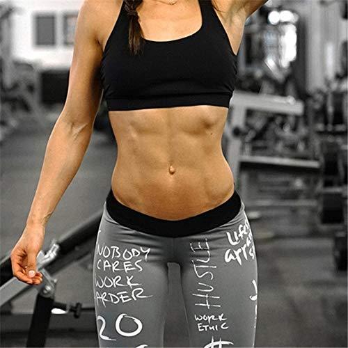B/H Yoga Running Fitness con Gran,Pantalones de Yoga elásticos con Estampado de Letras, Mallas Deportivas-Gris_S.,Leggings Finos sin Costuras