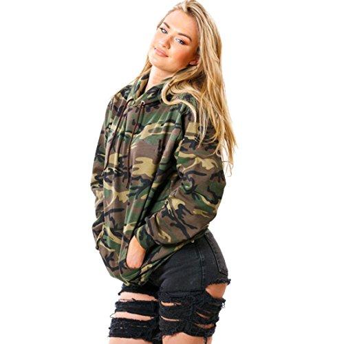 YunYoud Frau Lange Ärmel Hoodie Camouflage Druck Sweatshirt Lässige Oberteile (XL, Tarnung)