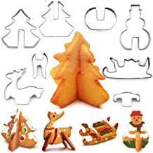 8Pcs 3D Stereo Christmas Cookie Cutters Set with Box Stainless Steel Christmas Tree Elk Sleigh Snowman Cutting Mold Cookie...