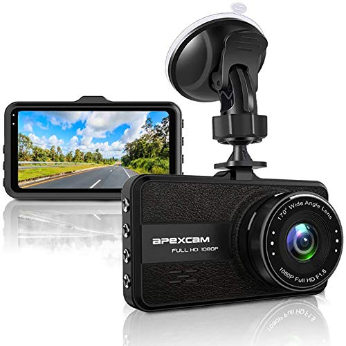 【2020 Nuova】Apexcam Dash Cam FHD 1080P 3'' Telecamera per Auto Registratore di Guida Super Visione Notturna 170 ° Grandangolo Registrazione in Loop G-Sensor WDR Parcheggio Monitor Rilevatore Movimento