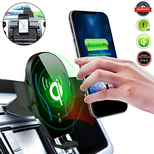 Qi Wireless Car Charger,CD Slot Phone Mount[Infrared-sensing][10W Fast Charging]Car Phone Holder Fits for iPhone 12/11/11 Pro/11 Pro Max/X/XS/XS Max/XR/8 Plus & Samsung S10/S10+/S10E/S9/S9+/Note9/S8+
