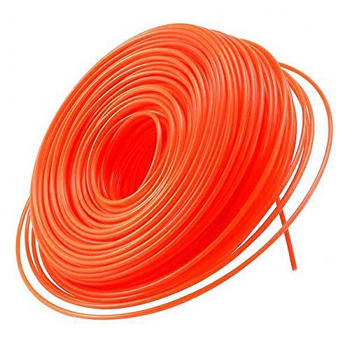 Huante Nylon Strimmer Trimmer Línea 2,4 mm x 69 M Heavy Duty Brush Cutter Round Core Wire - Naranja