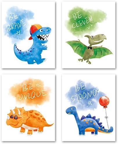 WERNNSAI Dinosaur Wall Decor Dino Wall Art Print for Boys Kids Nursery Bedroom Decorations 4 product image