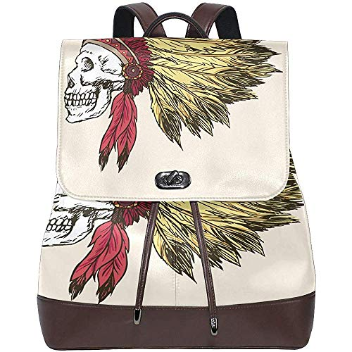 Rucksack,Retro Indian Skull Ghost Women's PU Leather Backpack Bookbag School Purse Shoulder Bag
