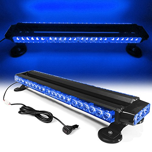 26' 54 LED 7 Flash Mode Traffic Advisor Double Side Emergency Warning Security Vehicle Roof Top Strobe Light Bar with Magnetic Base for Undercover or Tow Truck Construction (Blue)