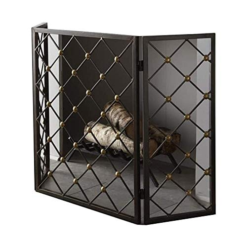 Great Deal! WJMLS 3 Panel Spark Guard, Iron Fireplace Screen Panel, Metal Mesh Safety Fire Place Gua...