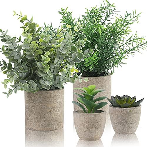 Alagirls 4 Stück Künstliche Pflanzen, Mini Kunstpflanzen Eukalyptus Rosmarin Sukkulenten mit Topf Schreibtisch Küche Badezimmer Garten Deko
