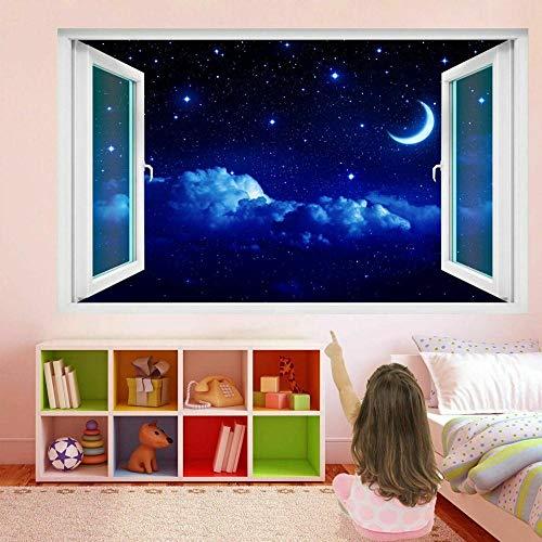 wall sticker Moon and Stars Sky 3D Wall Art Sticker Mural Decal Kids Room Home Decor