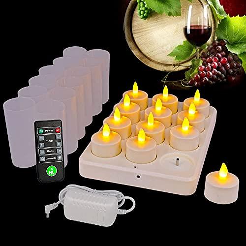 HL Flameless uppladdningsbara värmeljus, 72±5 timmars körtid LED-ljusljus, snabb laddningsbas med fjärrkontroll och timer, inget batteri behövs (12-pack, Amber)