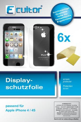 Ecultor I 6X Schutzfolie klar kompatibel mit iPhone 4 / 4S Folie Bildschirmschutzfolie (4X Vorder- und 2X Rückseite)