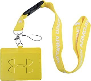 Under Armour Yellow Faux Leather Business ID Badge Card Holder with (Yellow with White) Keychain Lanyard