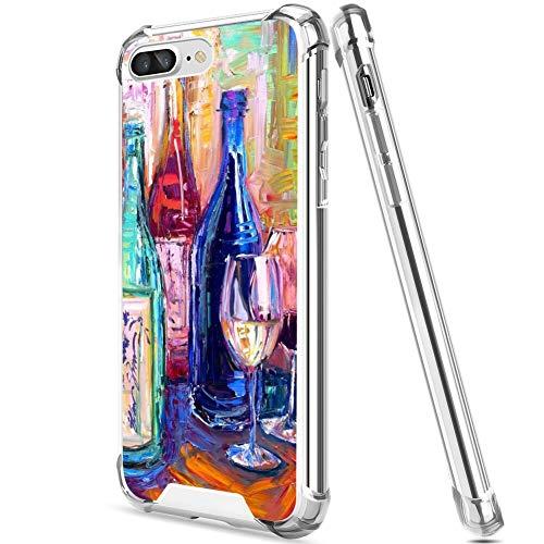 UZEUZA Funda para iPhone 7/8 Plus Transparente Bumper Cover Anti-arañazos Bordes Transparente con Copa de Vino