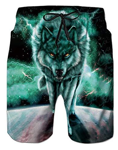 Spreadhoodie Hombre Lobo Bañadores Moda 3D Patrón Impreso Secado Rápido Bañadores Natacion Ligero Shorts Tallas Grandes para Playa Vacaciones XL