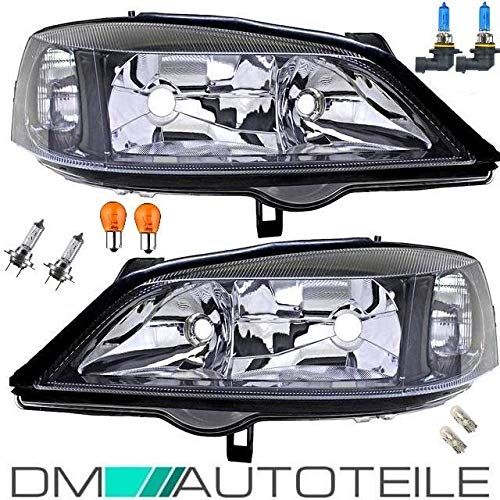DM Autoteile Astra G Scheinwerfer SET Schwarz Klarglas H7/HB3 +8tlg.Birnen KOMPLETTSET