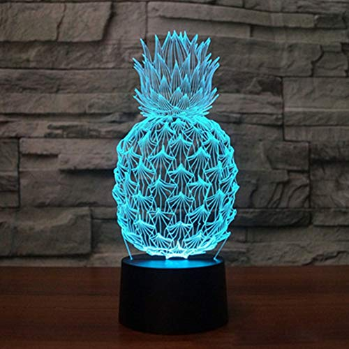 Pineapple 3D Illusion Lamp LED Pineapple Ananas Comosus Night Light for Living Bed Room Decoration USB Operated 7 Changing Colors Desk Table Lamp Light for Party Supplies Birthday Gift for Kid