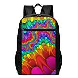 TRFashion Mochila Kaleidoscope Fractal Art Laptop Computer Backpack 17 Inch Stylish Casual Business Daypack Laptop Bag Schoolbag Book Bag For Men Women Black