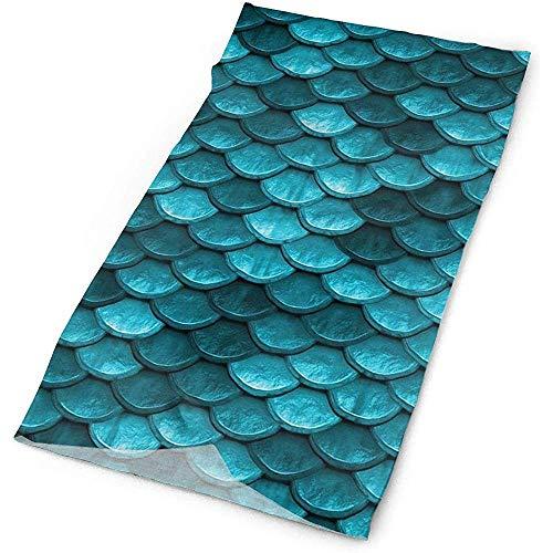 Belle marine bleu sarcelle sirène écailles de poisson masque facial polyvalent boucliers, cagoule décontractée, bandeaux extensibles Bandana