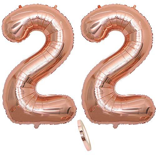 2 Globos Número 22 Años, Number 22Globo Chica de oro rosa, 40
