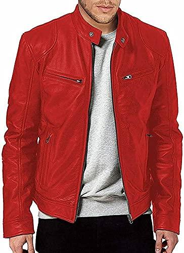 HiFacon Café Racer - Chaqueta de piel roja para motociclista para hombre