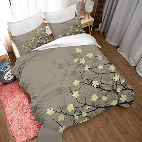GSYHZL king size bedding sets,3D green plant flower super king bed bedding set, boy and girl student apartment duvet cover and pillowcase-TO_200*229cm(3pcs)