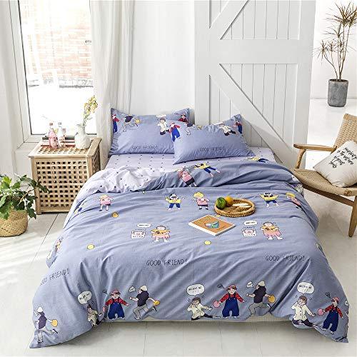 Bettwäsche-Set, 100 % Baumwolle, Cartoon-Motiv, 1 Bettbezug und 2 Kissenbezüge Twin multi