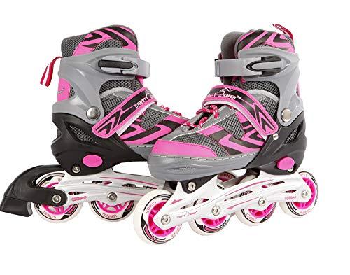 Kids Globe Street Rider Inlineskates (Inliner) rosa/grau, verstellbar von Größe 35-38, abec7 Alurahmen – 720235
