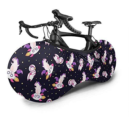Olive Croft Cubierta de Bicicleta Cute On Rocket Spacesuit Cubierta de Rueda de Bicicleta, Bolsa de Almacenamiento de Bicicleta Antipolvo A Prueba de arañazos, Lavable de Alta protección