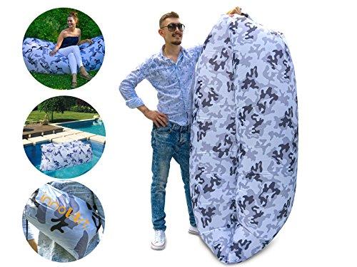 Innovart Luftsofa, wasserdichter aufblasbarer Air Lounger mit Tragebeutel, Outdoor & Indoor, Camouflage Muster