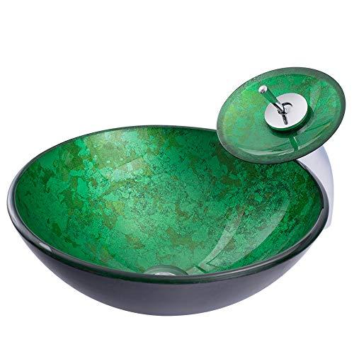 HomeLava Modern Einfach Waschbecken Set Rund Gehärtetes Glas Grün Glaswaschschale mit Wasserfall Wasserhahn und abflussgarnitur