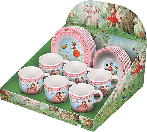 Display Erdbeerinchen Kindergeschirr aus Melamin: Erdbeerinchen Erdbeerfee. Farbig bedruckt.Inhalt: 18 Expl. (jeweils 6 Tassen, Teller und Schalen)