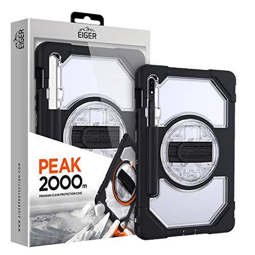 EIGER Peak - Funda para Samsung Galaxy Tab S7 (2000 m, función atril giratoria 360), color negro y transparente