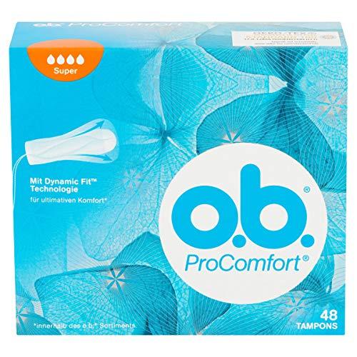 o.b. ProComfort Super Tampons mit Dynamic Fit Technologie und SilkTouch Oberfläche / Für ultimativen Komfort (innerhalb des o.b. Sortiments) und zuverlässigen Schutz / 48er Pack