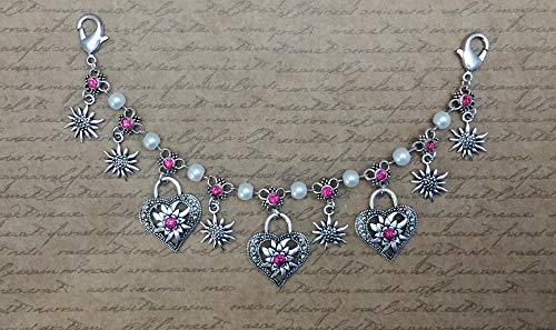 HK014 silber Damen Charivari mit weißen Glaswachsperlen und pink Strasssteinen Schariwari Scharivari Trachtenschmuck Trachtenkette Tracht...