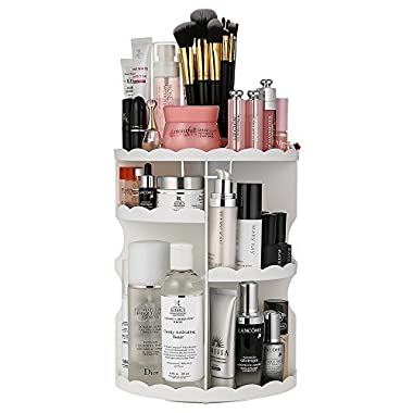 Jerrybox Makeup Organizer 360 Degree Rotation Adjustable Multi-Function Cosmetic Storage Box, Large Capacity, 7 Layers, Fits Toner, Creams, Makeup Brushes, Lipsticks and More (White, Flower)