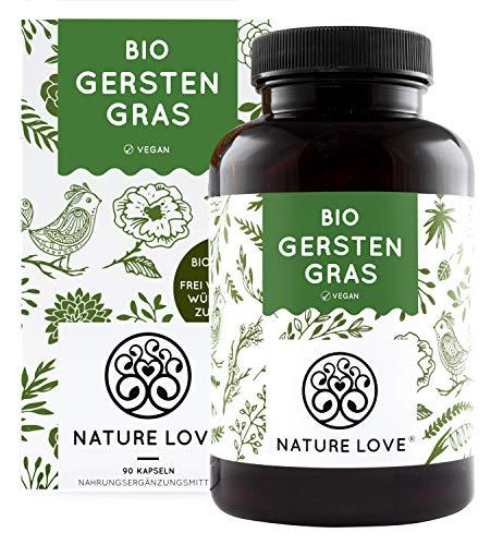 NATURE LOVE® Bio Gerstengras - Hochdosiert mit 1500mg je Tagesdosis - 180 Kapseln - Laborgeprüft und zertifiziert Bio, in Deutschland produziert