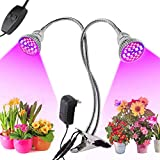 Plant Lamp, Plant Light for Indoor Plants,80 LEDs Full Spectrum Dual Head Plant Light,60W LED Grow Light 360°Adjustable Gooseneck for Indoor Plants Flower