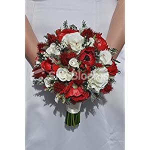 Silk Blooms Ltd Ruby Red Scottish Thistle & White Roses Anemones Bridal Wedding Bouquet