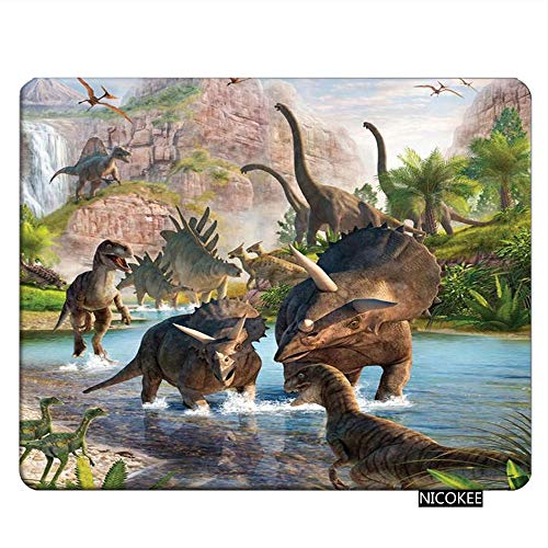 Nicokee Dinosaur Gaming Mousepad Ancient Dinosaur Jurassic Animal Mouse Pad Rectangle Mouse Mat for Computer Desk Laptop Office 9.5 X 7.9 Inch Non-Slip Rubber