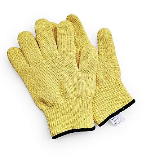 1 par de guantes de lana de aramida de punto para proteger la muñeca larga/corta, a prueba de calor, resiste quemaduras calientes, hornos y hornos calientes, guantes de trabajo resistentes al calor, L