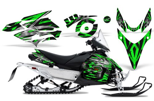 CreatorX Graphics Kit Decals Stickers for Yamaha Phazer Rtx Gt Mtx 07-14 Snowmobile Sled Bolt Thrower Green