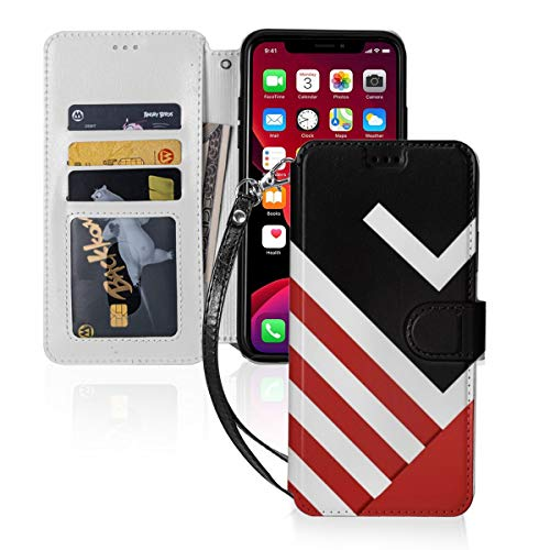 Funda para iPhone 11 PU cuero cartera cubierta moderno Resumen almohada negro rojo blanco gris ID efectivo tarjetas de crédito ranuras titular bolsa de transporte folio bolsillo Flip cubierta