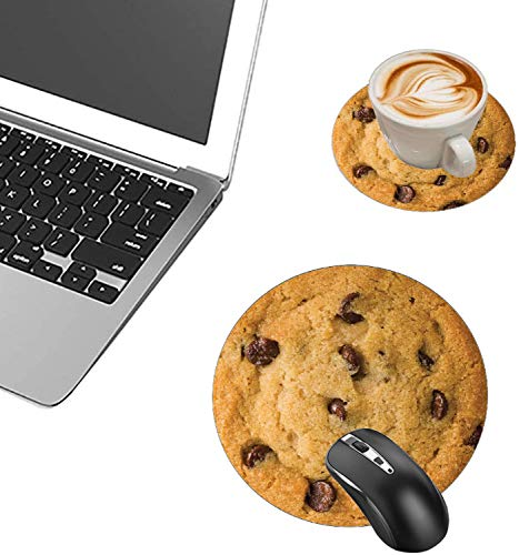 Round Mouse Pad and Coasters Set, Giant Chocolate Chip Cookie Mousepad, Anti Slip Rubber Round Mousepads Desktop Notebook Mouse Mat for Working and Gaming Photo #5