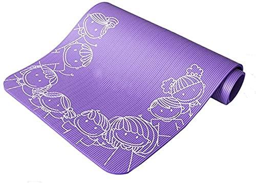NZKW Yoga Matt Colchoneta de Yoga para niños 10 mm Mejora Espesar Antideslizante Colchoneta de Ejercicio Colchoneta de Baile con Correa Colchoneta de Gimnasio (Color: Morado)
