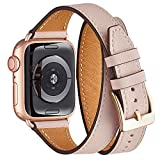 WFEAGL Bracelet Compatible pour Bracelet Apple Watch 38mm 40mm,Cuir de Grain Double Tour...