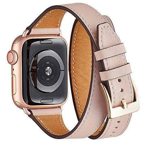 WFEAGL Kompatibel mit Watch Armband 38mm 40mm 42mm 44mm Double, Slim Doppelter Kreis Leather Ersatzband mit Edelstahl-Verschluss für Watch Serie 5/4/3/2/1(42mm 44mm, Rosa Sand/RoséGold)